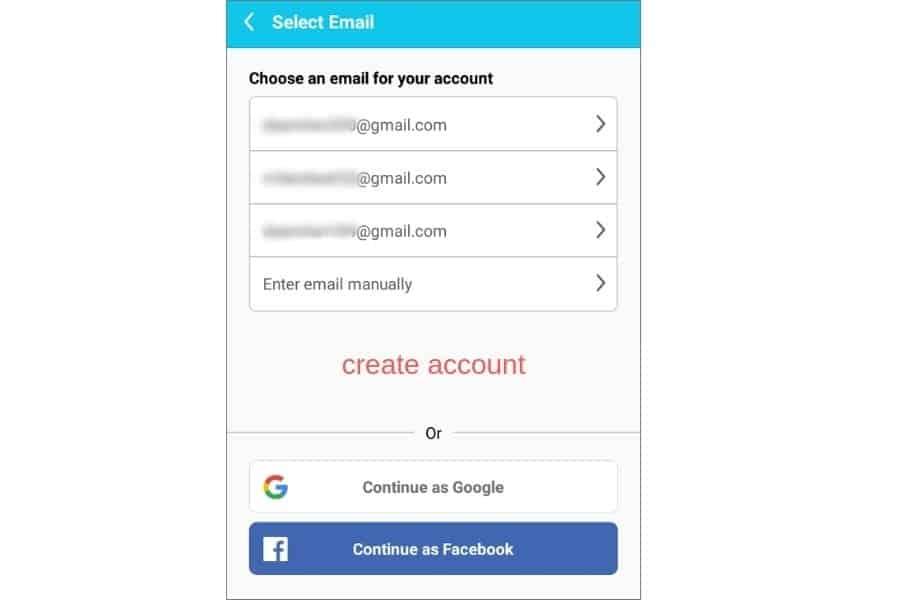 create Mobizen account