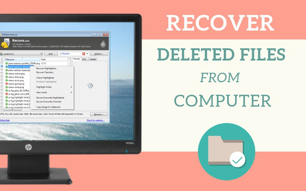 Recover deleted files from computer