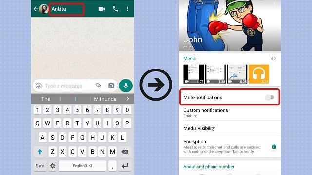 whatsapp mute contact, whatsapp notification