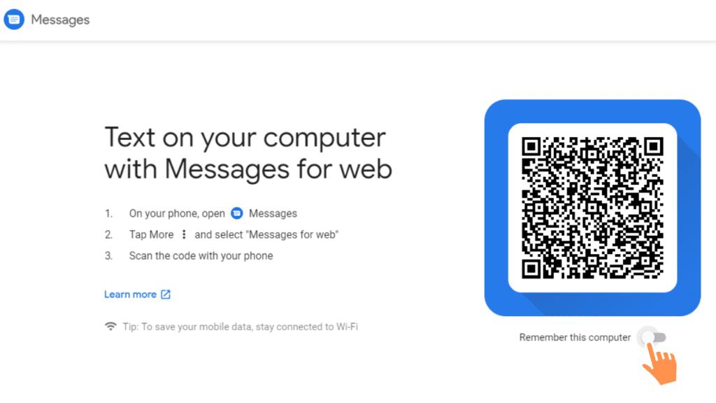 messages for web qr code