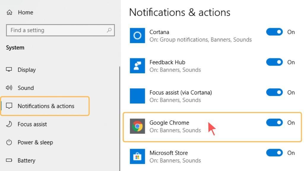 customize chrome notifications windows 10, Google Chrome notifications & actions windows 10