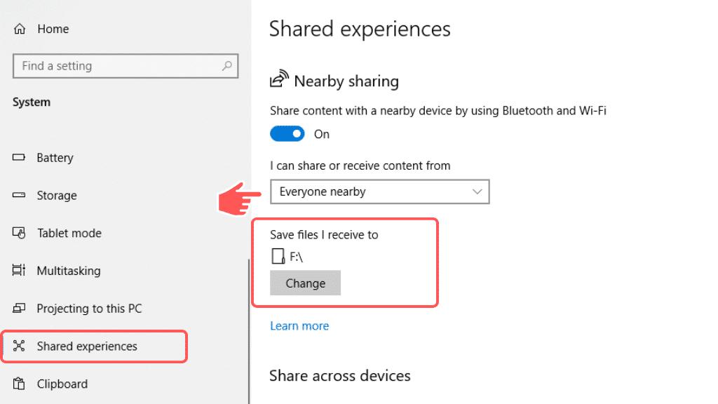turn on nearby sharing windows 10