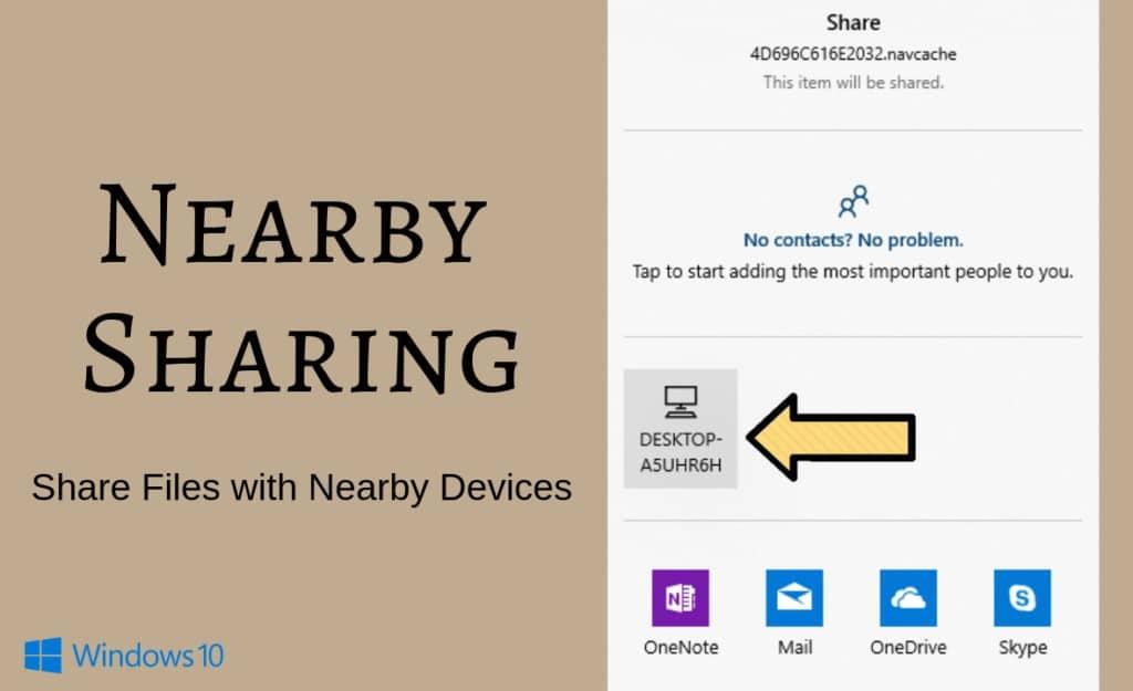 Nearby sharing in windows 10, Near share windows 10