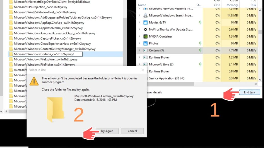 end cortana process, how to disable cortana completely, rename cortana folder, cortana using memory