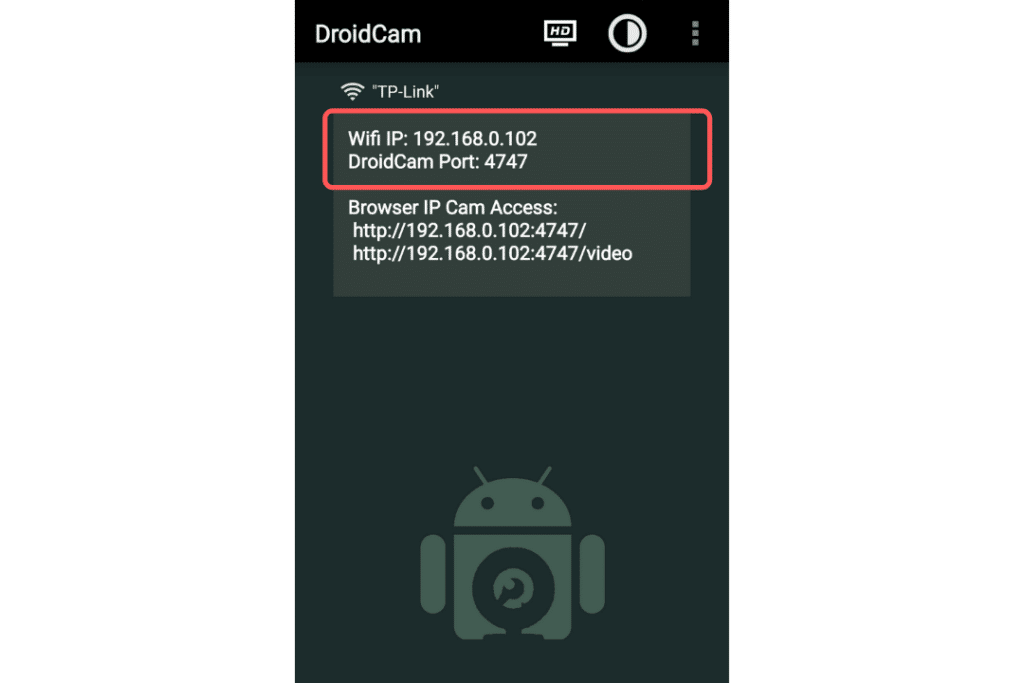 DroidCam WiFi IP and Port