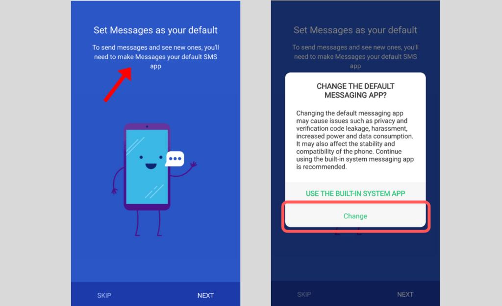 set Messages app as your default