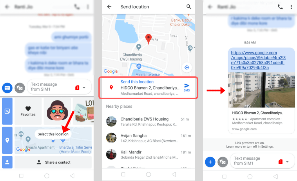 Share location via SMS with Messages app