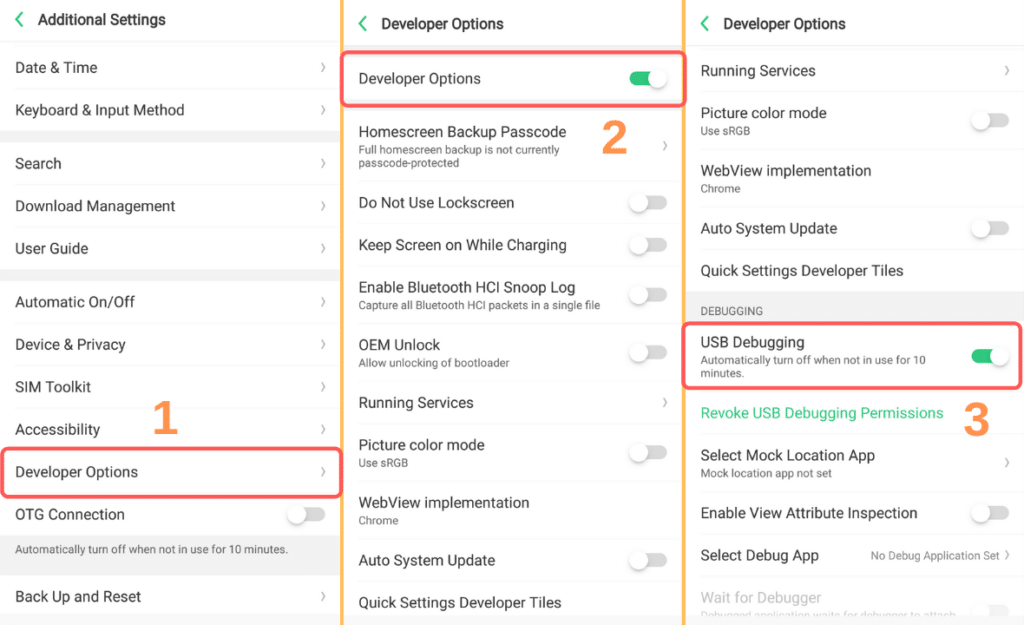 how to turn on usb debugging android