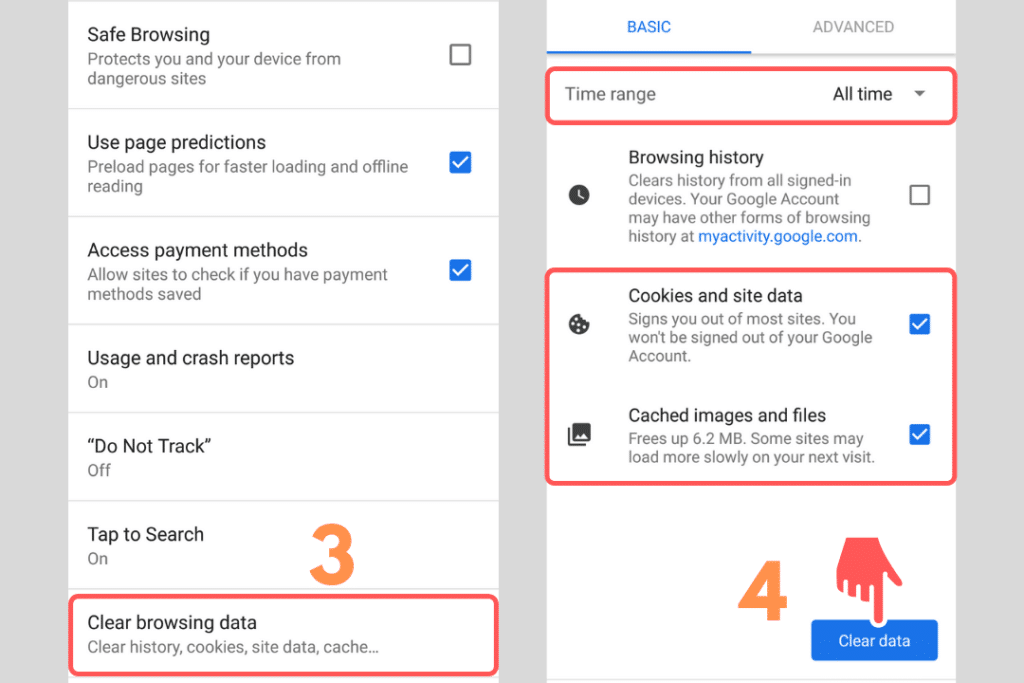 android chrome clear cache and cookies