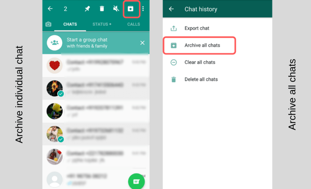 archive whatsapp chat in android