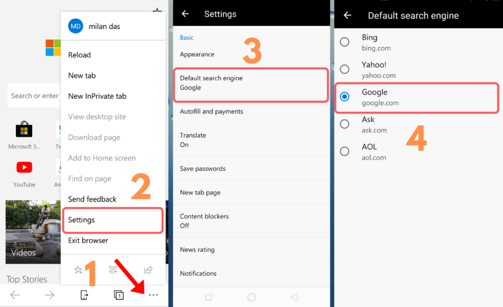 change default search engine in microsoft edge android