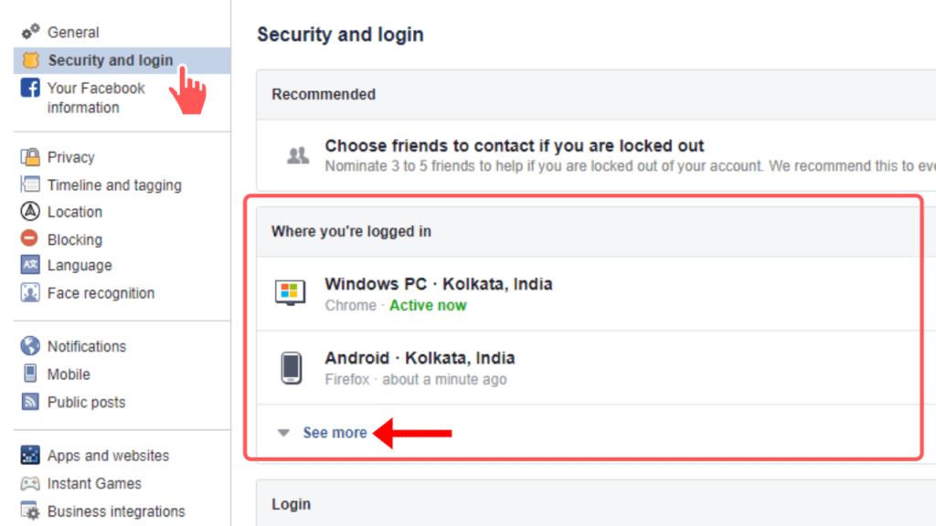 view your recent login history on Facebook