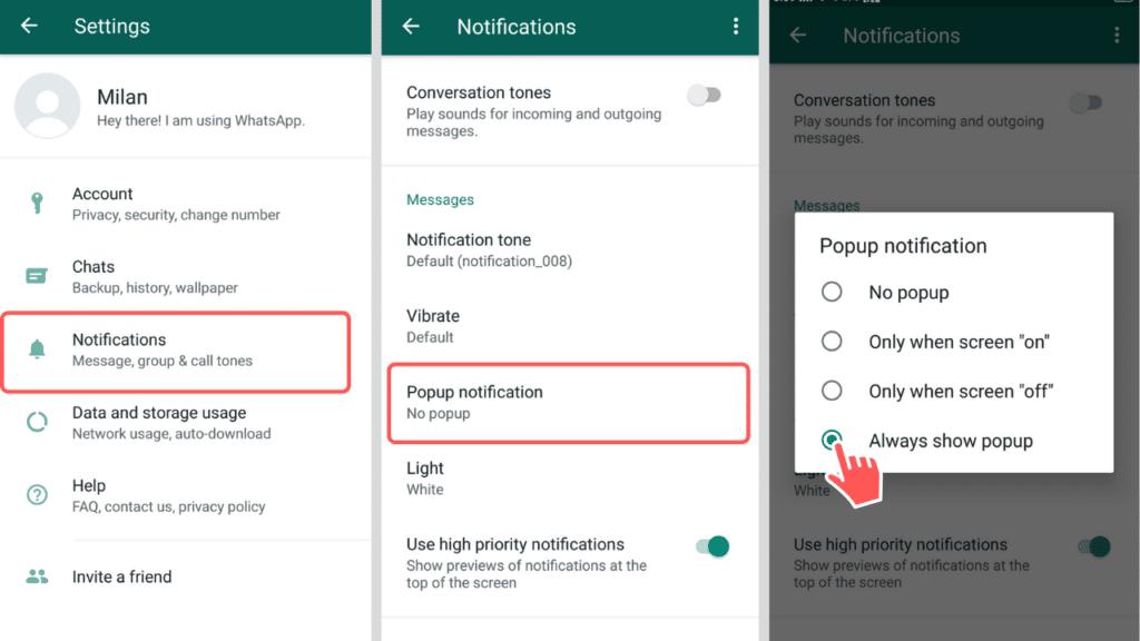 Turn on WhatsApp popup notification