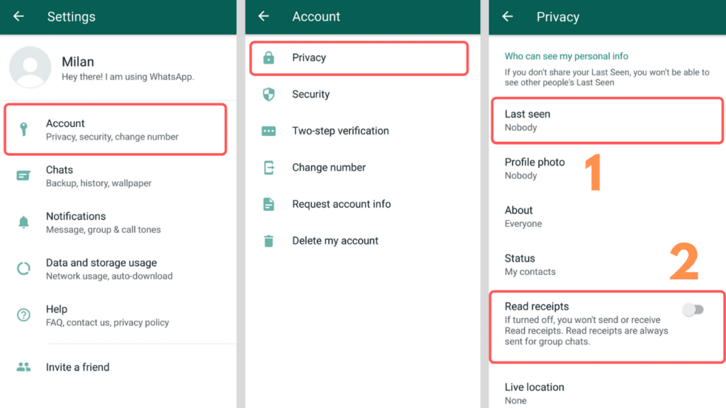 disable whatsapp read receipts and last seen