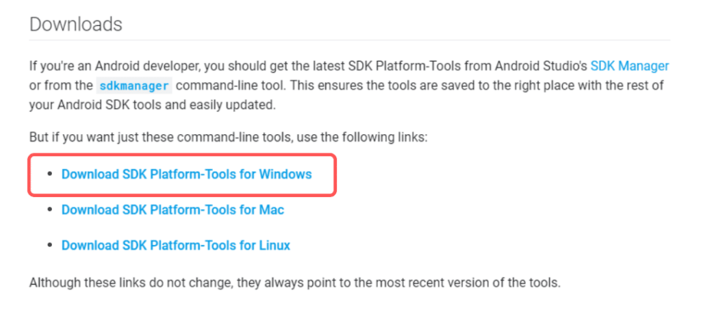 download and install android sdk platform tools for windows