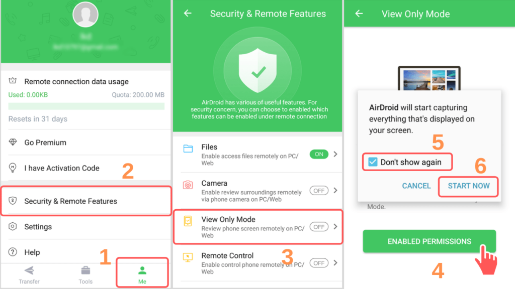 enable remote features android screenshot