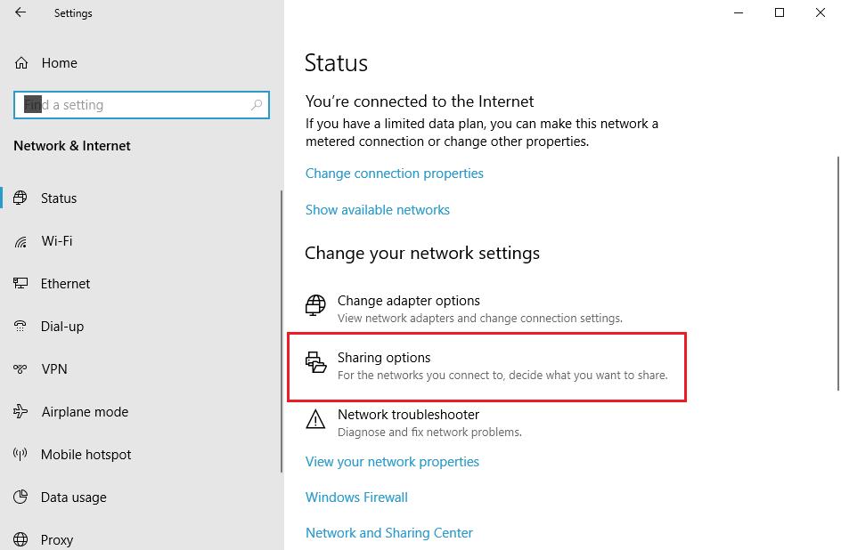 set up network file sharing on Windows 10