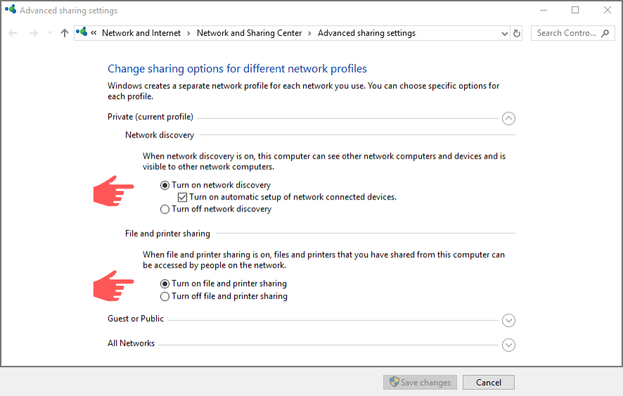 enable network discovery and configure sharing options