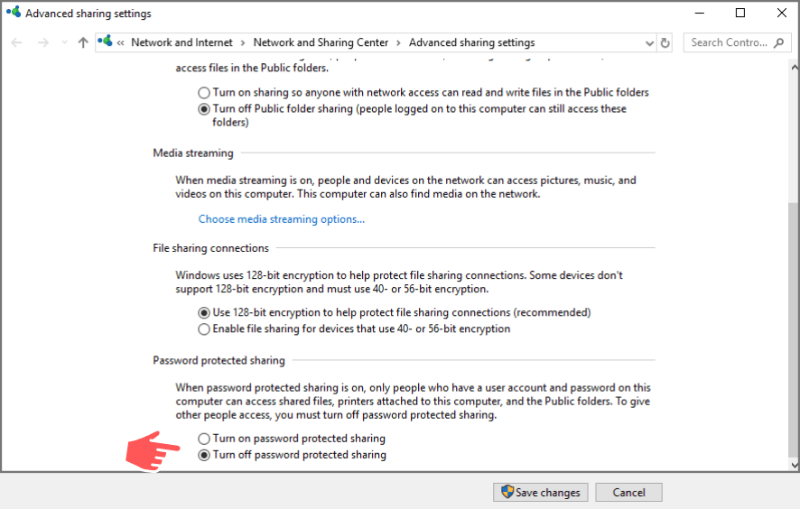 windows 10 file sharing without password