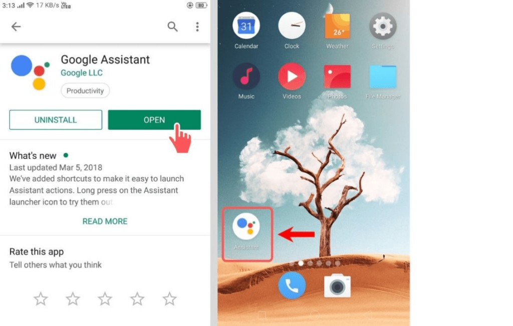 google assistant on home screen