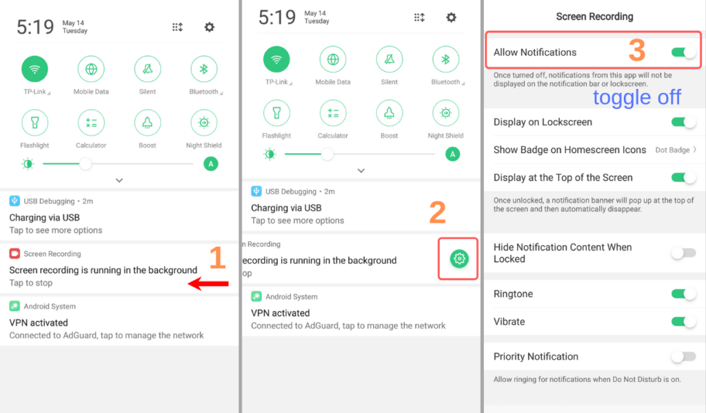 disable persistent notifications in Android