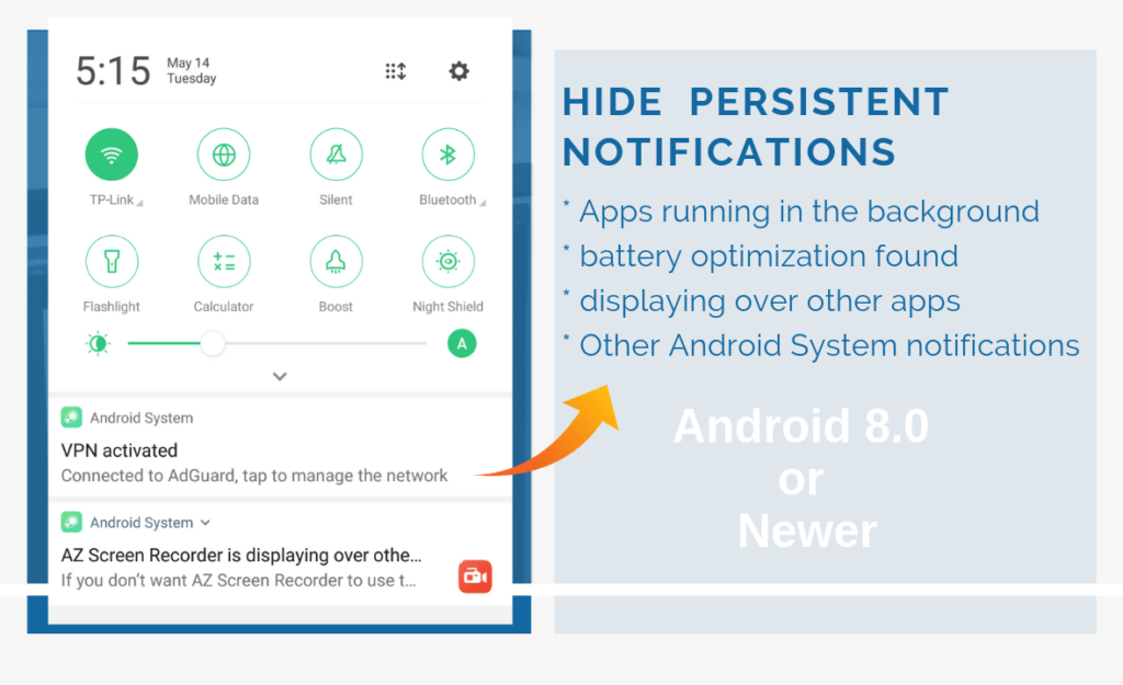 hide persistent notification android oreo or newer