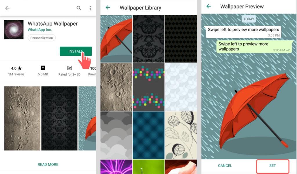 Whatsapp wallpaper library for custom chat screen