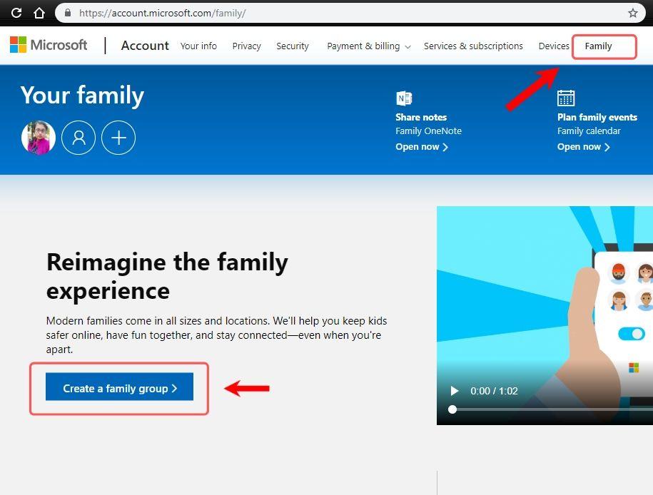 add child to microsoft family