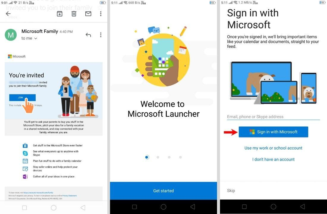 microsoft family features in android