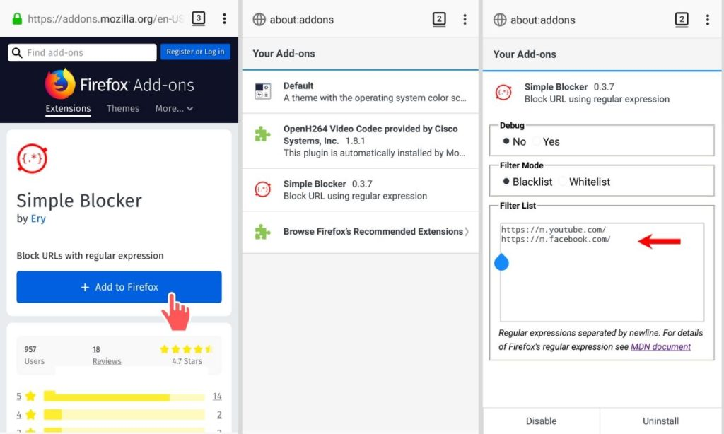 how to block websites on firefox android using browser extension