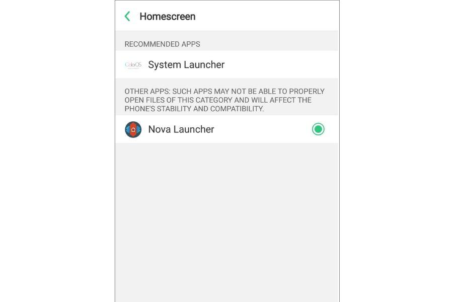 Make Nova default Launcher