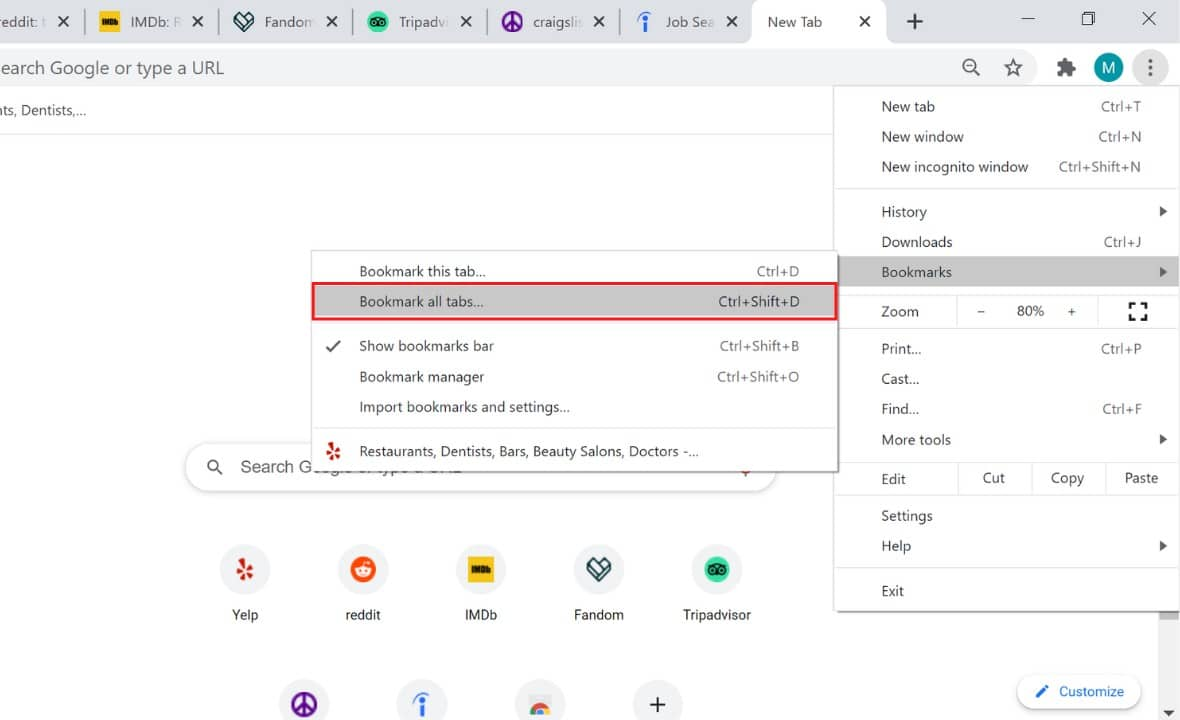 bookmark all open tabs chrome
