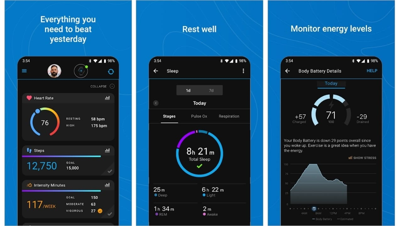 garmin connect health app cycling, exercise bike app android