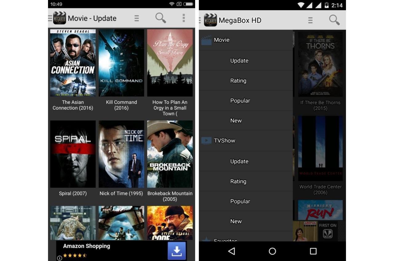Free Movies & TV Shows app, MegaBox HD