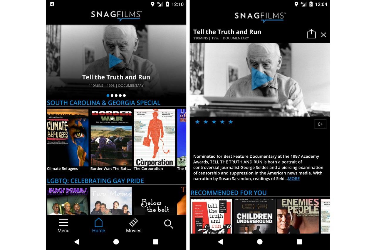 SnagFilms, Watch Free Movies app