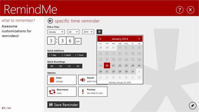 reminder app for windows 10, remindme for windows