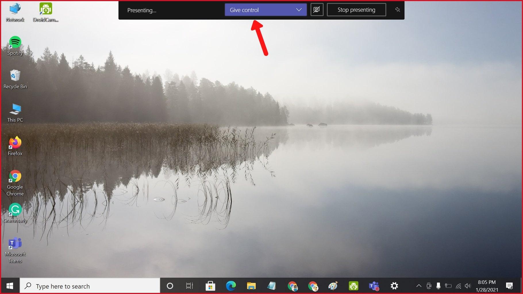 microsoft teams share screen give control