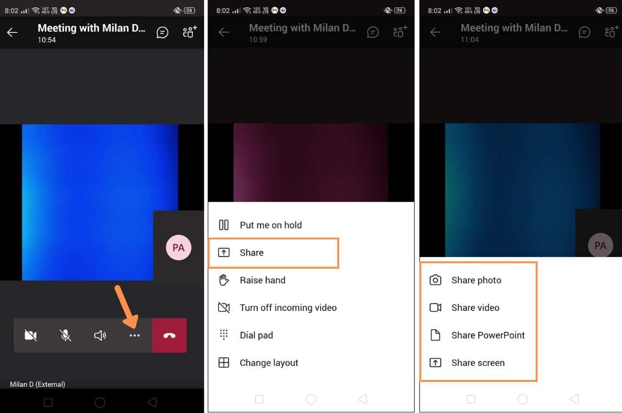 share screen on Microsoft teams Mobile