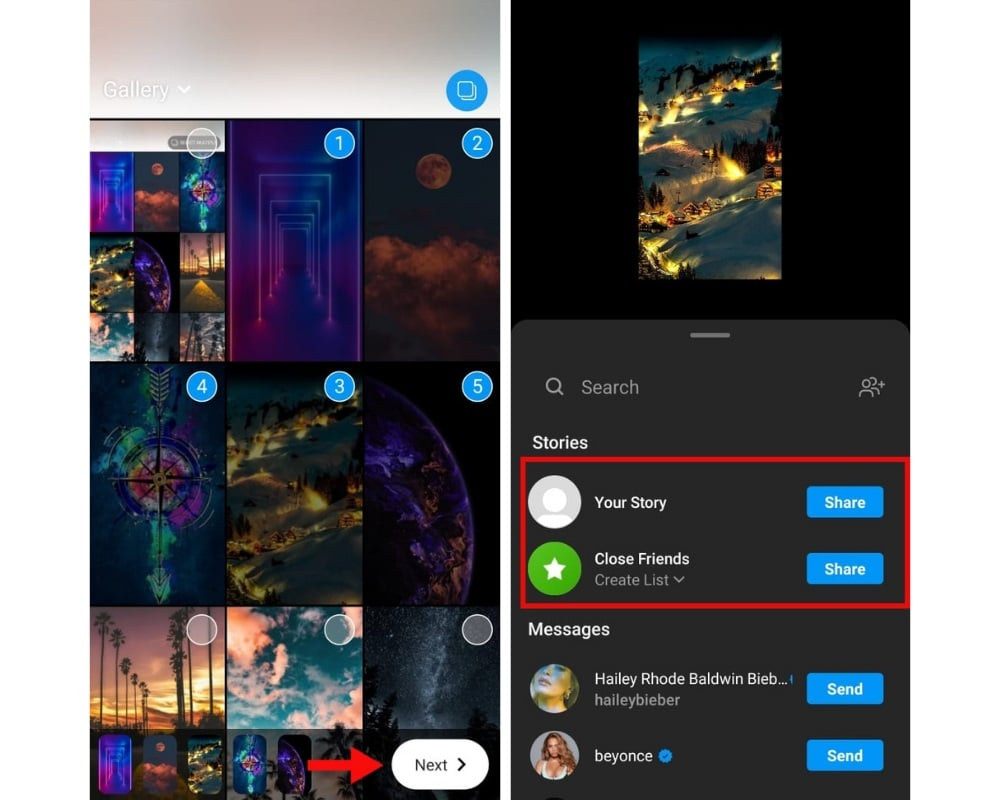 how to add multiple photos in instagram
