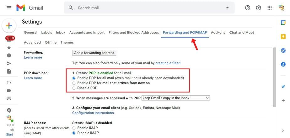 set up POP in Gmail