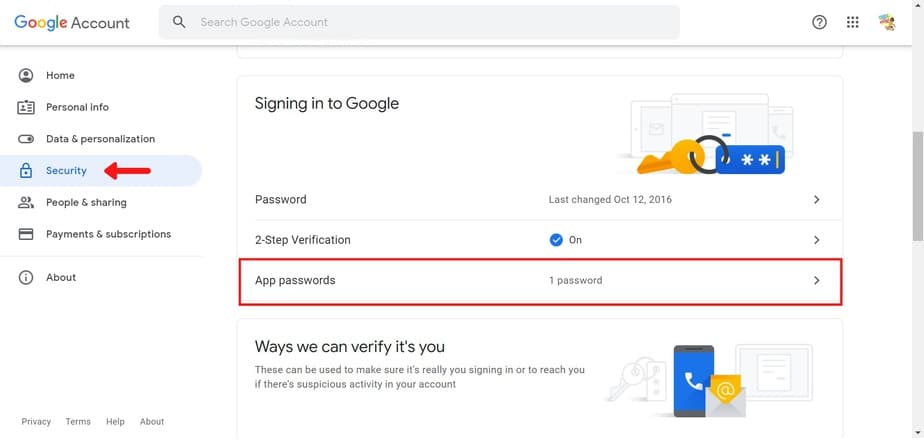 set app password Gmail