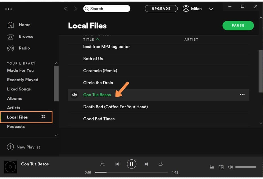 spotify playing local files