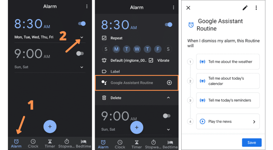 add Google Assistant routine to alarm