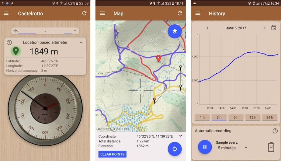 altimeter app for Android, accurate altimeter app