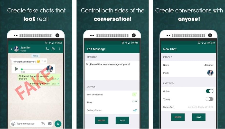 fake whatsapp message app, fake text app