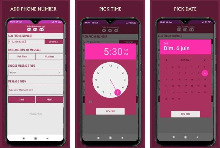 Fake text message Android with date and time, app to fake text messages