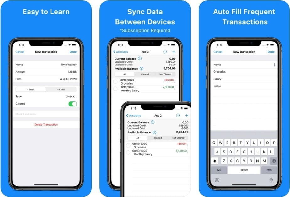 checkbook register app that syncs between devices